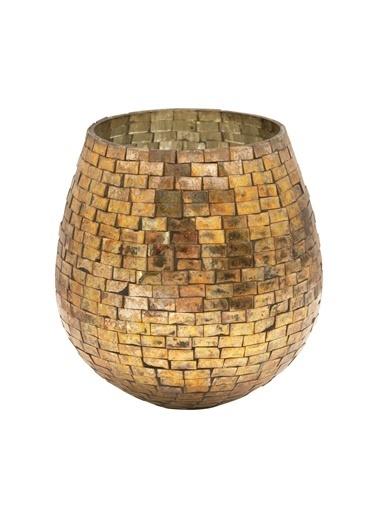 Warm Design Altın Cam Mumluk Altın